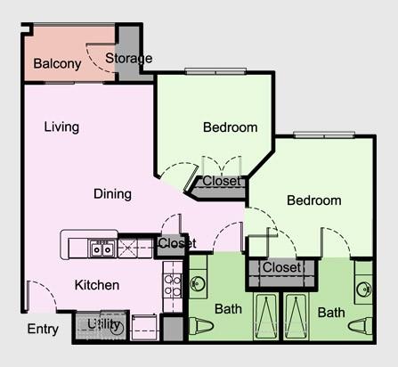 882 sq. ft. Devonshire/B3/B4 floor plan