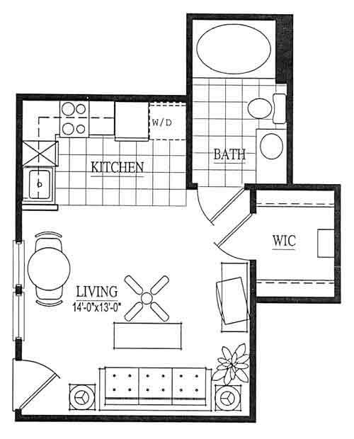 356 sq. ft. EFF floor plan
