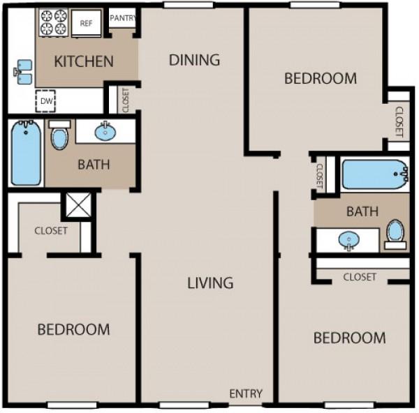 1,190 sq. ft. floor plan