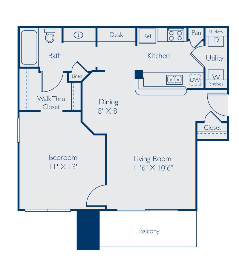 668 sq. ft. Whitney floor plan