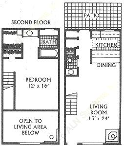 1,100 sq. ft. F floor plan
