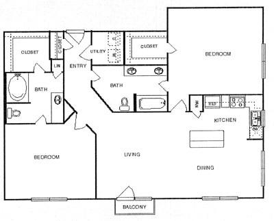 1,363 sq. ft. Splendid floor plan