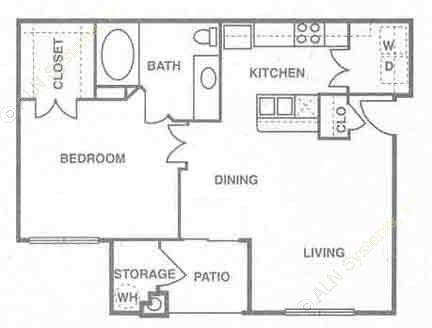 705 sq. ft. A2 floor plan