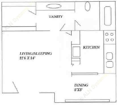 463 sq. ft. floor plan