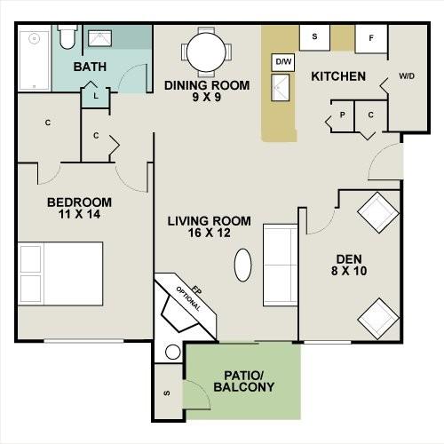 844 sq. ft. Aspen floor plan