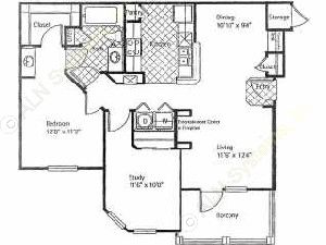970 sq. ft. TORREY PINES floor plan