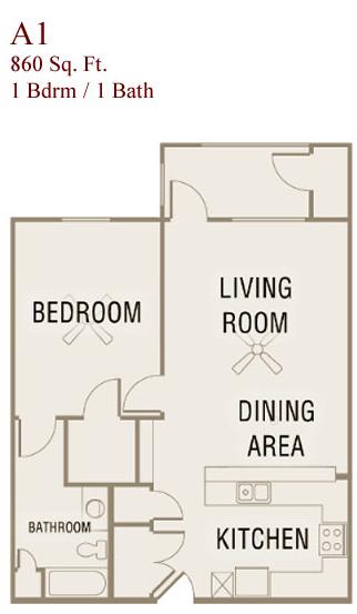 860 sq. ft. A1-50 floor plan