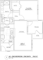 750 sq. ft. A2/60 floor plan
