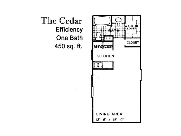 450 sq. ft. CEDAR floor plan