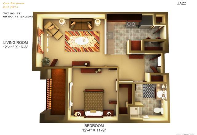 707 sq. ft. B1 floor plan