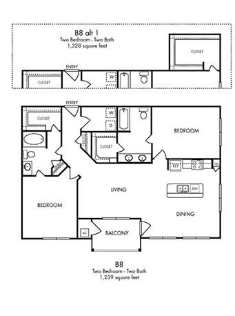 1,328 sq. ft. Serenity floor plan