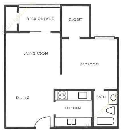 579 sq. ft. A3 floor plan