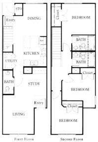 1,275 sq. ft. C1/60 floor plan