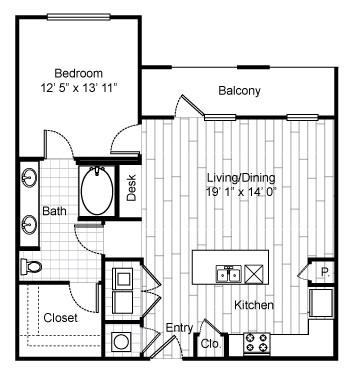 879 sq. ft. A10 floor plan