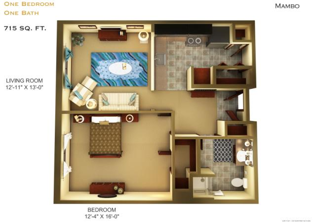 715 sq. ft. A2 floor plan