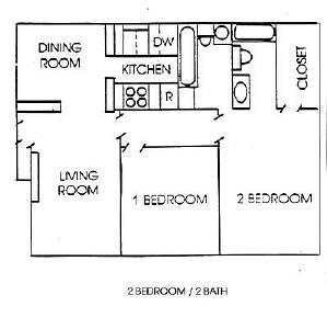 960 sq. ft. B floor plan