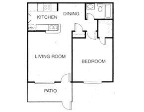 650 sq. ft. A5 floor plan