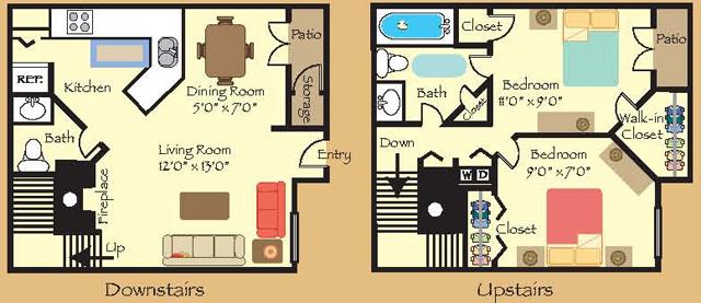910 sq. ft. 21T floor plan