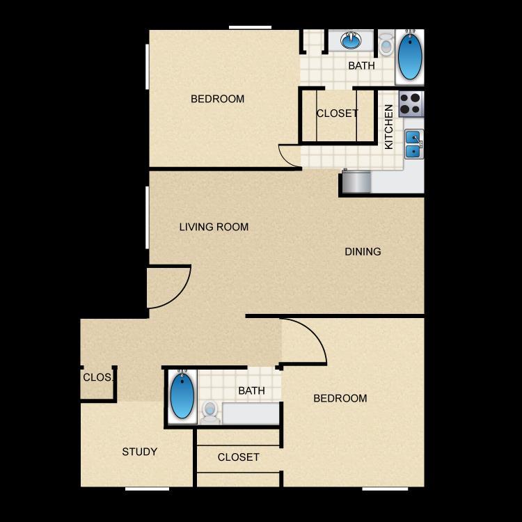 965 sq. ft. B3 floor plan