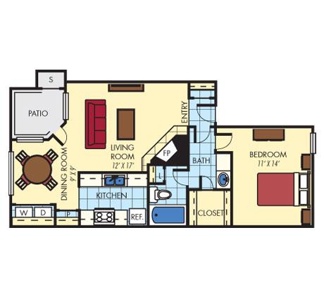 788 sq. ft. A1 floor plan
