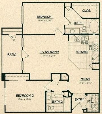 1,077 sq. ft. 60% floor plan