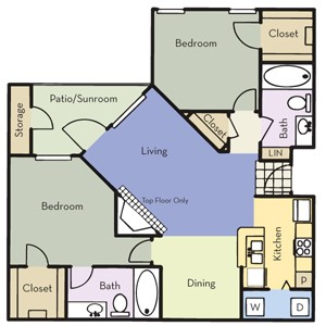 980 sq. ft. B2A floor plan
