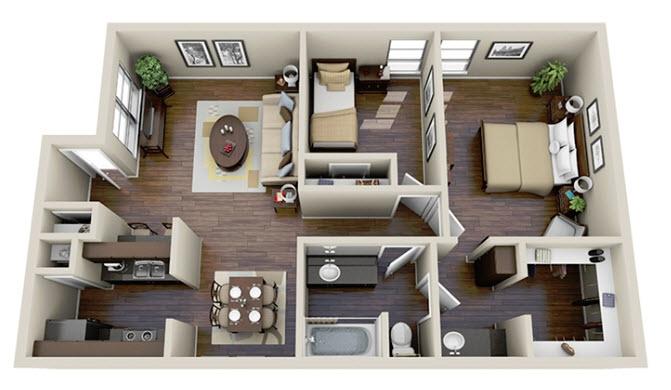 910 sq. ft. B1 floor plan