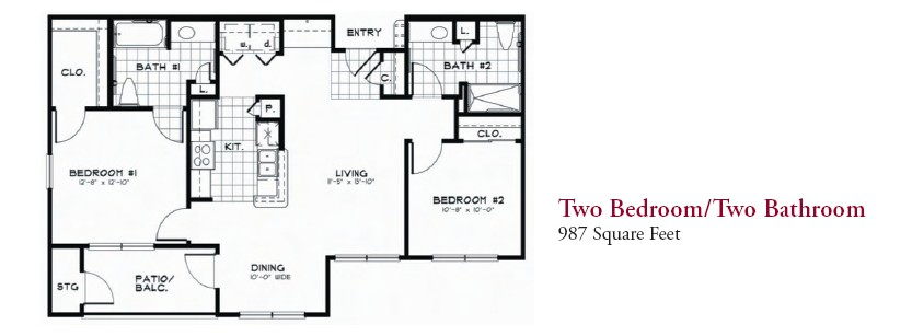 987 sq. ft. 60 floor plan