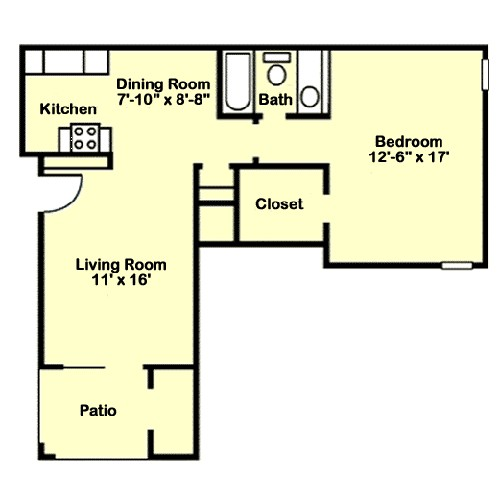 667 sq. ft. A6 floor plan