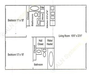 950 sq. ft. B1 floor plan