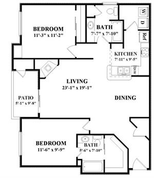 1,116 sq. ft. B2 floor plan