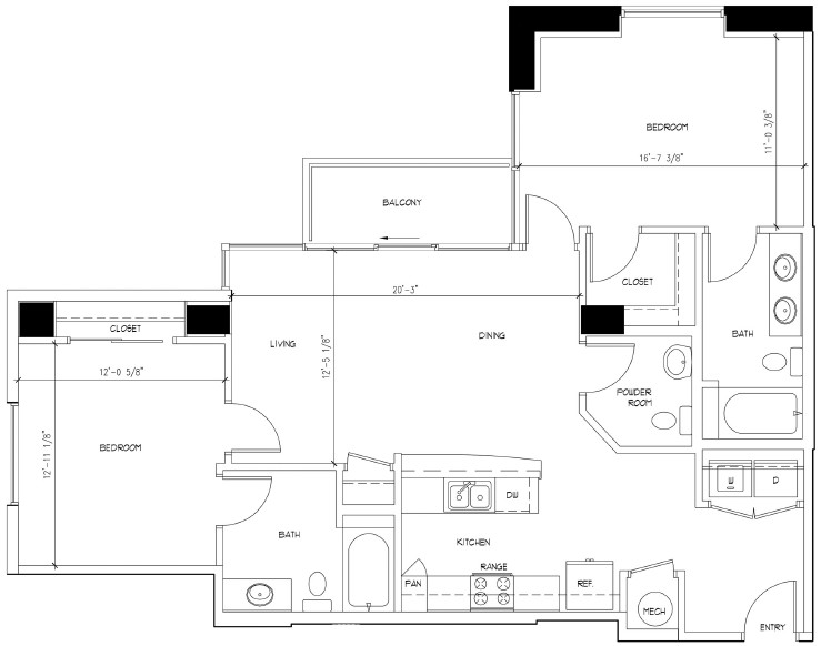 1,209 sq. ft. VAN GOGH floor plan