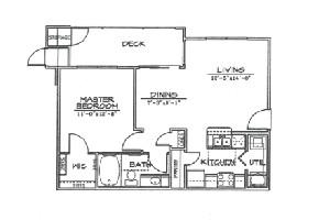 660 sq. ft. A2 floor plan