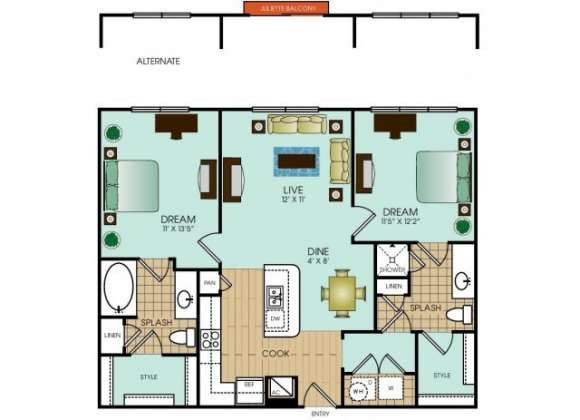 1,021 sq. ft. to 1,035 sq. ft. floor plan