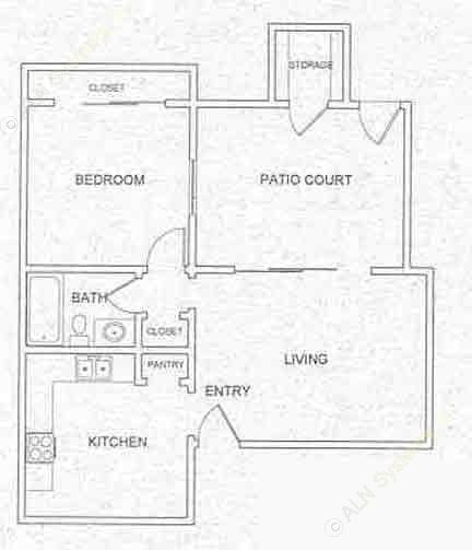 620 sq. ft. A1 floor plan