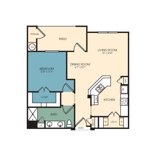 865 sq. ft. Durango floor plan