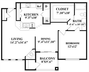 857 sq. ft. A3/GAR floor plan