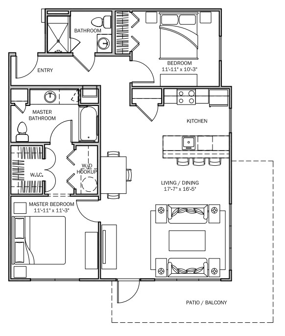 1,079 sq. ft. Lantana MKT floor plan