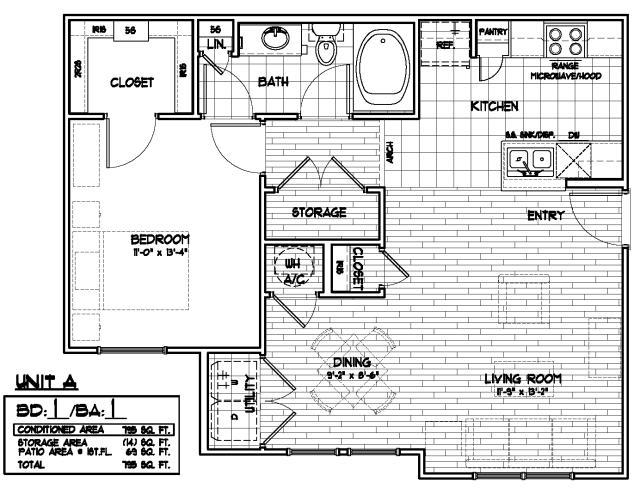 795 sq. ft. 50% floor plan