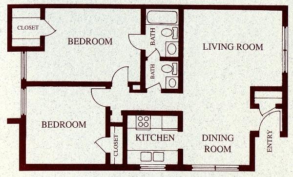 881 sq. ft. B floor plan