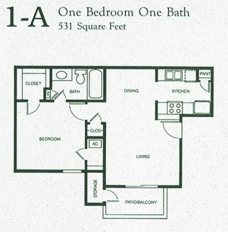 531 sq. ft. 1A floor plan