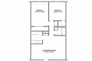 830 sq. ft. floor plan