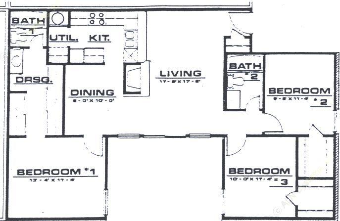 1,135 sq. ft. C1 floor plan