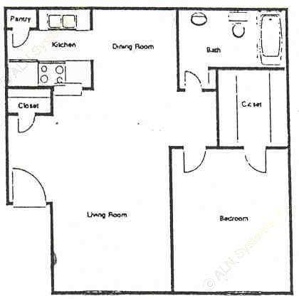 630 sq. ft. C floor plan