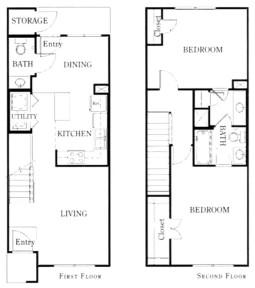 1,058 sq. ft. B21/60 floor plan