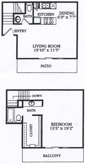 925 sq. ft. A4 floor plan
