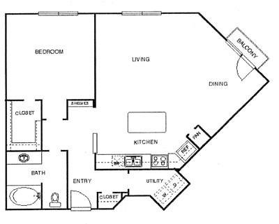 1,006 sq. ft. Ritz floor plan
