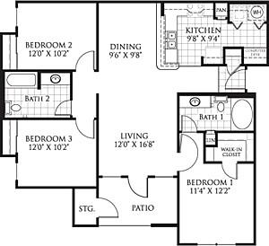 1,140 sq. ft. C2 floor plan