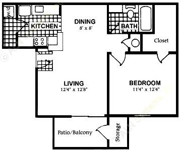 600 sq. ft. A7 floor plan