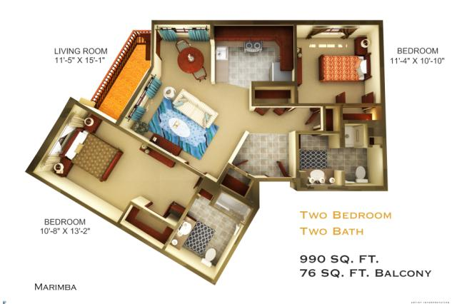 990 sq. ft. C3 floor plan